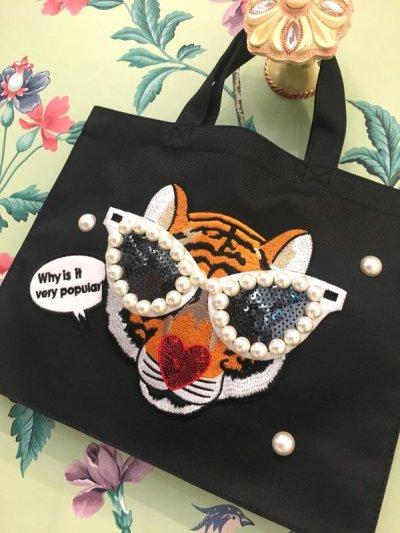 画像1: エコバックL ブラック  タイガー