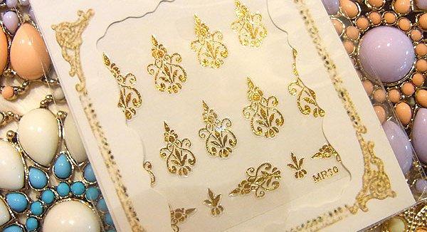 画像1: シャンデリアアラベスクネイルシール GOLD (1)